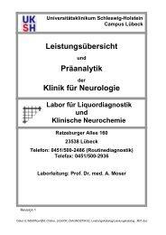 Leistungsübersicht und Präanalytik der Klinik für Neurologie Lübeck