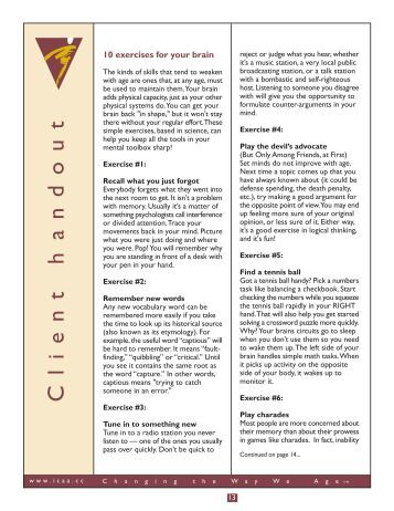 Client handout: 10 Exercises for the brain - International Council on ...