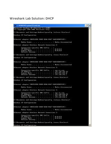 Wireshark Lab Solution: DHCP