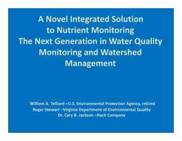 A Novel Integrated Solution to Nutrient Monitoring The Next ... - NEMC