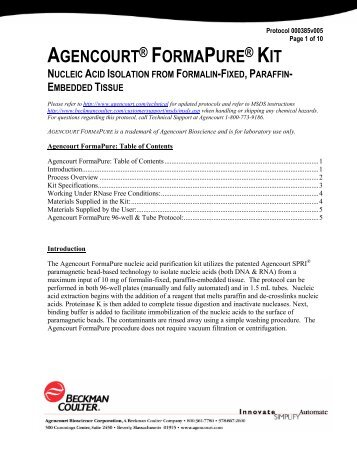 AGENCOURT ® FORMAPURE - Beckman Coulter