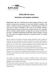 RAYLASE AG starts business unit system solutions