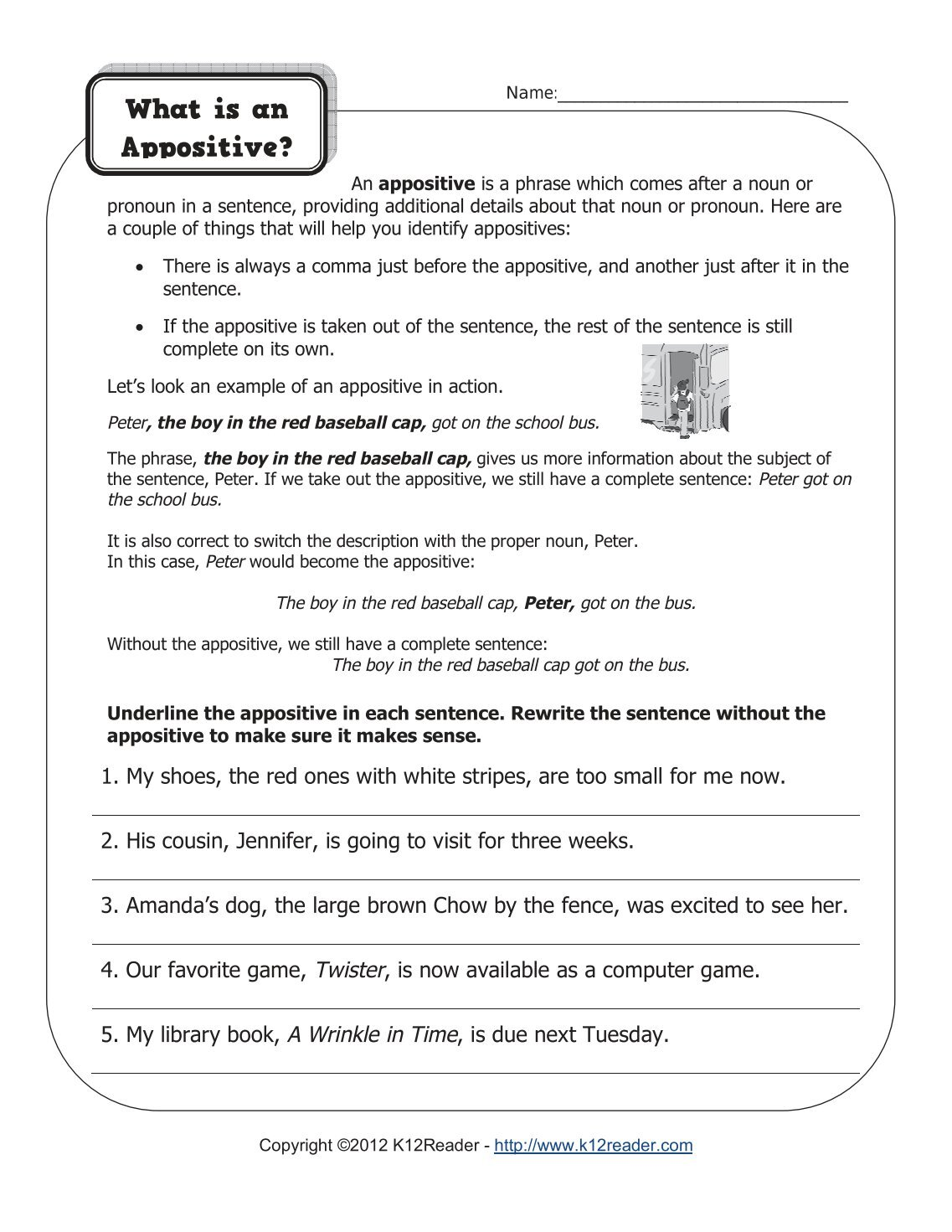 Appositives Worksheet with Answers – careless.me