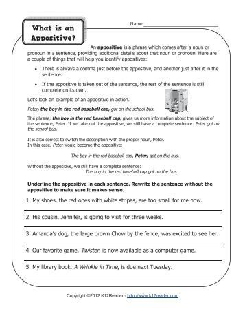 Printables Appositive Phrase Worksheet appositive phrase worksheet appositives match k12reader com what is an k12reader