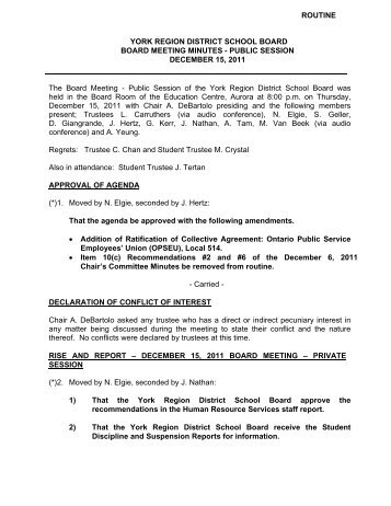 Approval of Minutes of December 15, 2011, Board - York Region ...