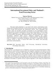 International Investment Policy and Thailand's Food Processing Sector