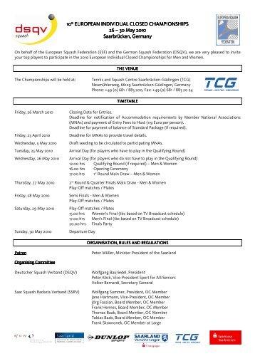 Entry Form & Invitation EICC2010 Final - European Squash Federation