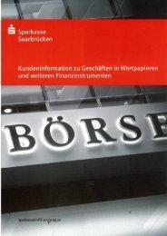 S Sparkasse Saarbrücken Kundeninformation zu Geschäften in ...