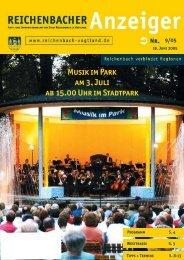 Musik im Park am 3. Juli ab 15.00 Uhr im Stadtpark - Reichenbach