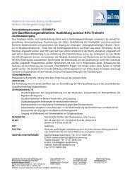 aim-Qualifizierungsmaßnahme: Ausbildung zum/zur KiFa TrainerIn