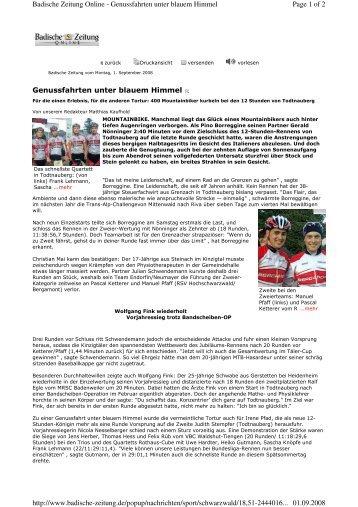 Zeitungsbericht aus der Badischen Zeitung - RSV Hochschwarzwald