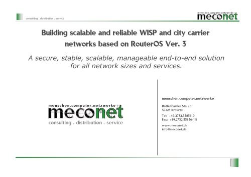 Building scalable and reliable WISP and city     - MUM