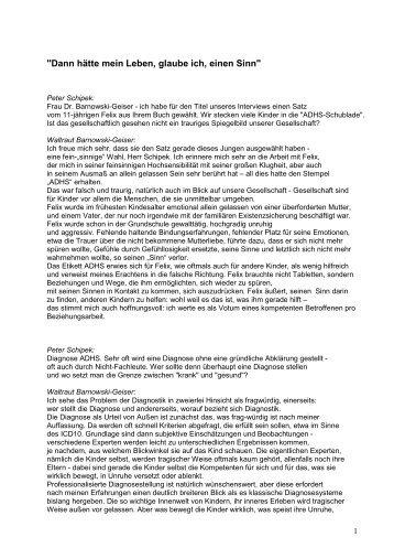 Lesen Sie hier das Interview mit Dr. Waltraut - Sinn-Stiftung