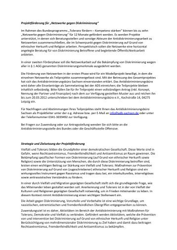 """Projektförderung für """"Netzwerke gegen Diskriminierung"""" Im Rahmen ..."""