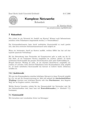 Bachelorarbeit Rekonstruktion Komplexer Netzwerke Mittels