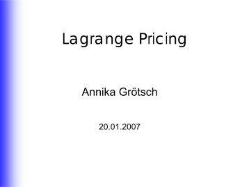 Lagrange Pricing
