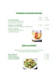Vorspeisen und kalte Gerichte Salat vom Buffet