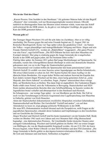 Interview mit Andreas Kuno Richter zum Film - Geschichtswerkstatt ...