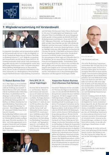 RMI Newsletter I 2010 - Region Rostock Marketing Initiative e.V.