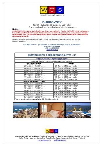 dubrovnik oteller ve oda cinslerine göre ayrıntılı fiyat - World Travel ...