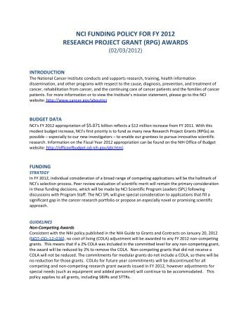 NCI FUNDING POLICY FOR FY 2012 RESEARCH PROJECT ...