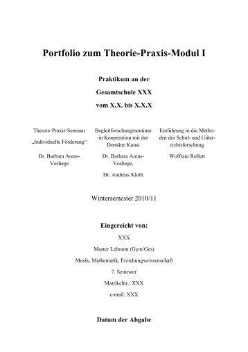 Portfolio zum Theorie-Praxis-Modul I