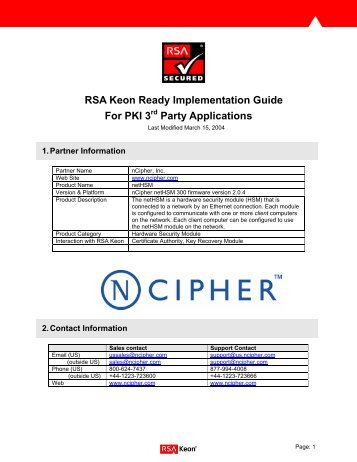Keon Sentry Implementation Guide for Directory Server Poducts - RSA