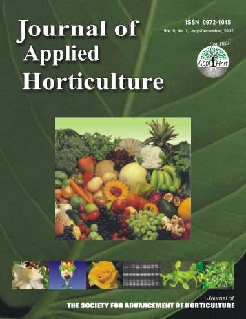 Journal of Appled Horticulture, Volume 9, No 2 - Journal of Applied ...