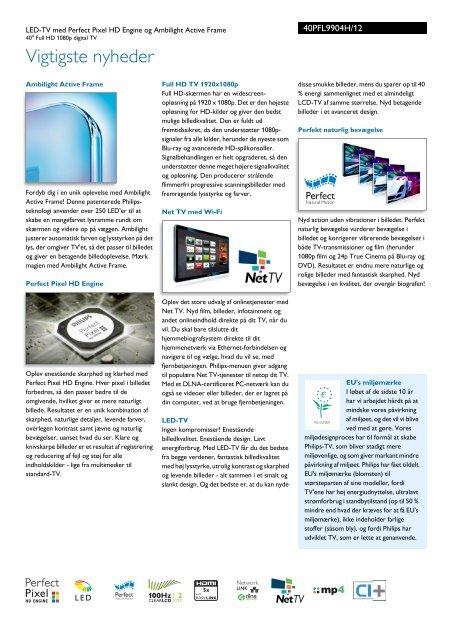 40PFL9904H/12 Philips LED-TV med Perfect Pixel HD Engine og ...