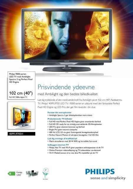 40PFL9705H/12 Philips LED-TV med Ambilight Spectra 3 og Perfect ...