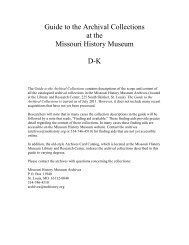 Guide to the Archival Collections, D-K.pdf - Missouri History Museum