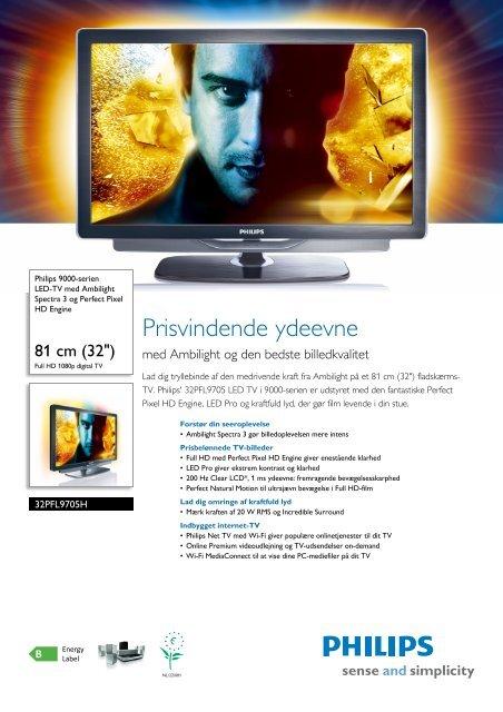 32PFL9705H/12 Philips LED-TV med Ambilight Spectra 3 og Perfect ...
