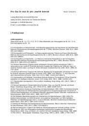Priv. Doz. Dr. med. Dr. phil. Josef M. Schmidt I. Publikationen