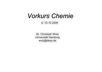 Vorkurs Chemie - Chemie - Universität Hamburg
