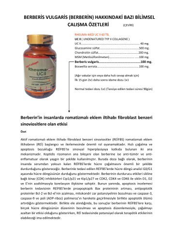 Berberin'in insanlarda romatizmalı eklem iltihabı fibroblast benzeri ...
