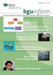 bguInform 01/2009 als pdf, 24 Seiten, 2 - Berufsgenossenschaftliche ...