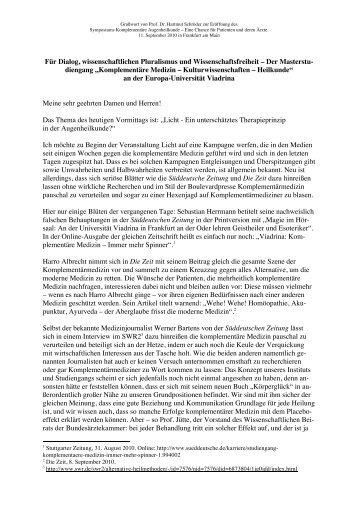 Grußwort von Prof. Dr. Hartmut Schröder zur Eröffnung