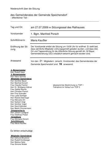 des Gemeinderates der Gemeinde Speichersdorf