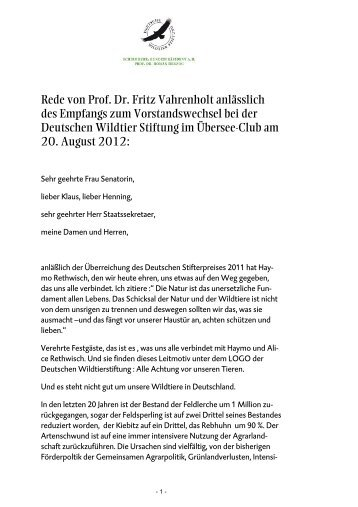 Rede von Prof. Dr. Fritz Vahrenholt anlässlich des - Deutsche ...