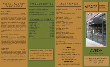 Visage Menu #1661 REVISED 11-8-05 - Visage Salon & Day Spa
