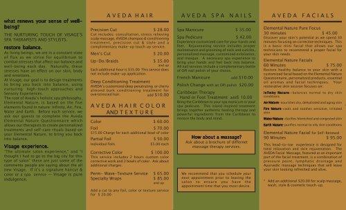Visage Menu #1661 REVISED 11-8-05 - Visage Salon & Day Spa