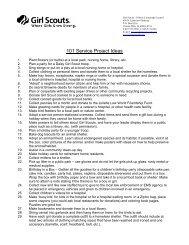 101 Service Project Ideas - Girl Scout Council - Illinois Crossroads