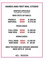 hands and feet nail studio winter specials - Waterstone Village