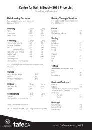 Centre for Hair & Beauty 2011 Price List - TAFE SA