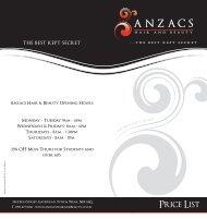 PDF Price List - Anzacs Hair & Beauty