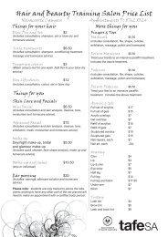 Hair and Beauty Training Salon Price List - TAFE SA