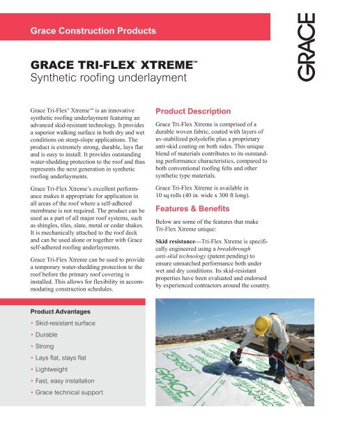 GRACE TRI-FLEX® XTREMETM Synthetic roofing underlayment