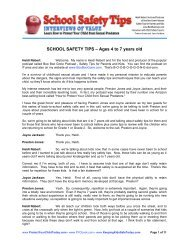 SCHOOL SAFETY TIPS – Ages 4 to 7 years old - Your Child and You