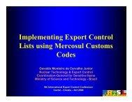 Implementing Export Control Lists using Mercosul Customs Codes
