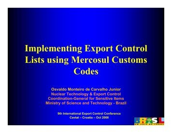 Implementing Export Control Lists using Mercosul Customs Codes